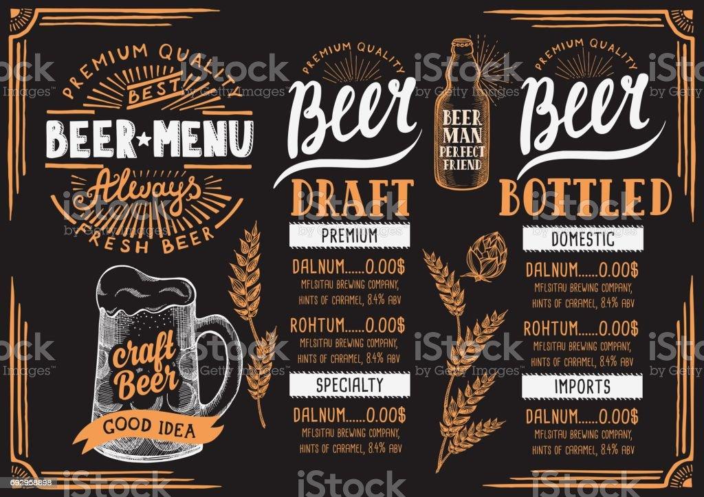 Beer menu restaurant, drink template. vector art illustration