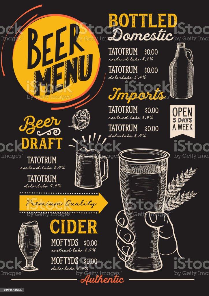 Restaurante de menu de cerveja, modelo de bebida. - ilustração de arte em vetor