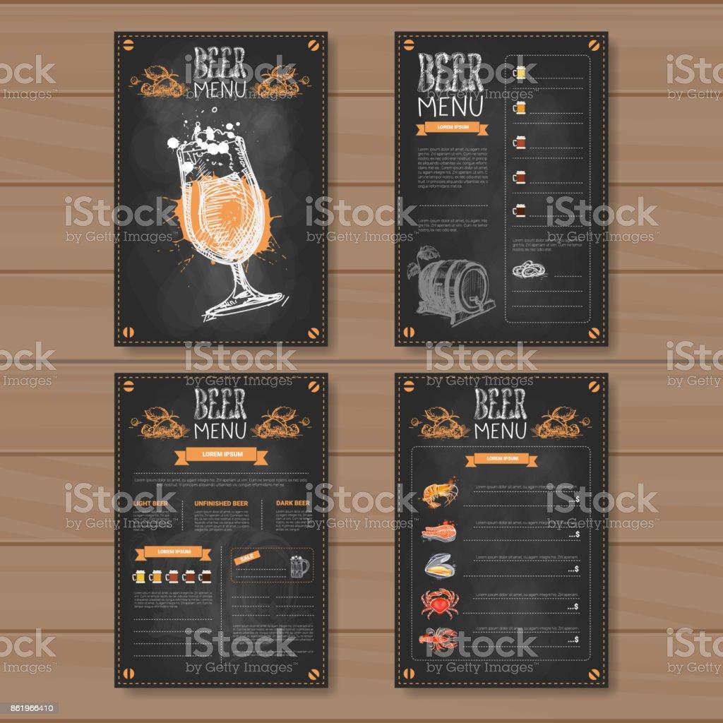 Beer Menu Set Design For Restaurant Cafe Pub Chalked On Wooden Textured Background vector art illustration
