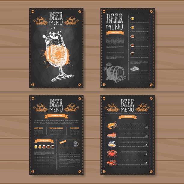 beer menu set design for restaurant cafe pub chalked on wooden textured background - alcohol drink patterns stock illustrations
