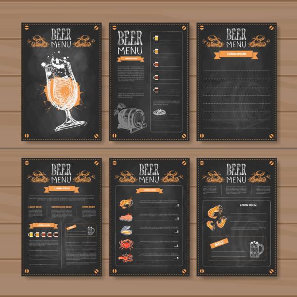 illustrazioni stock, clip art, cartoni animati e icone di tendenza di beer menu set design for restaurant cafe pub chalked on wooden textured background - banchi scuola