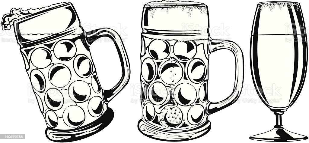Bierkrug Und Glasschwarz Weiß Stock Vektor Art und mehr Bilder von ...