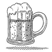Hand-drawn vector drawing of a Beer Mug. Black-and-White sketch on a transparent background (.eps-file). Included files are EPS (v10) and Hi-Res JPG.