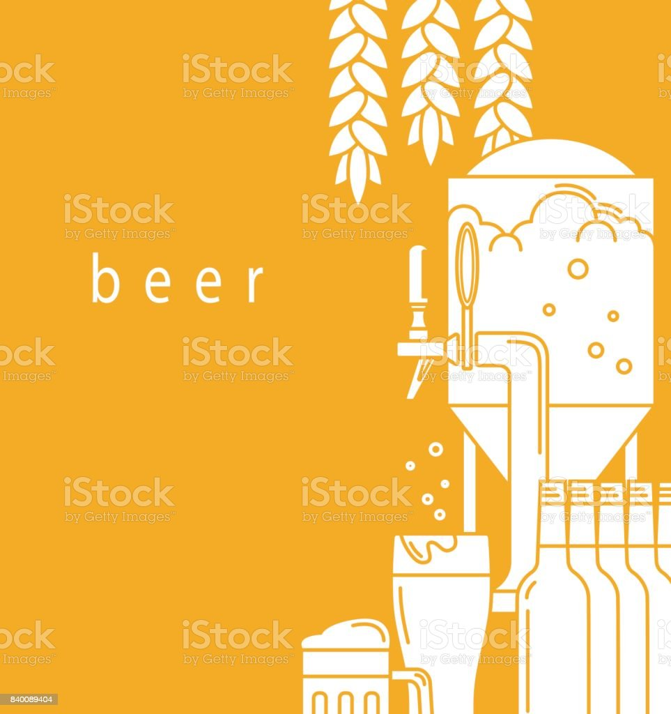 Beer mug, glass, beer tap,equipment for brewery, malt. A brochure design template for a brewery, pub, restaurant, bar. Flyer, advertising booklet, label. Vector illustration is cropped with a mask. vector art illustration