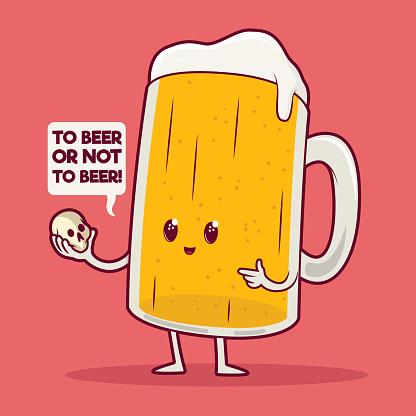 Beer mug holding a skull vector illustration.