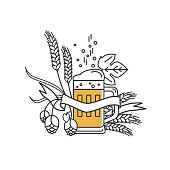 Beer mug, hops, wheat and ribbon . Linear icon. Sign, design elements, symbol, emblem, label for brewery, beer restaurant, pub, bar, menu, website. Vector illustration.