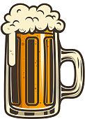 Beer mug illustration. Design element for label, emblem, sign.