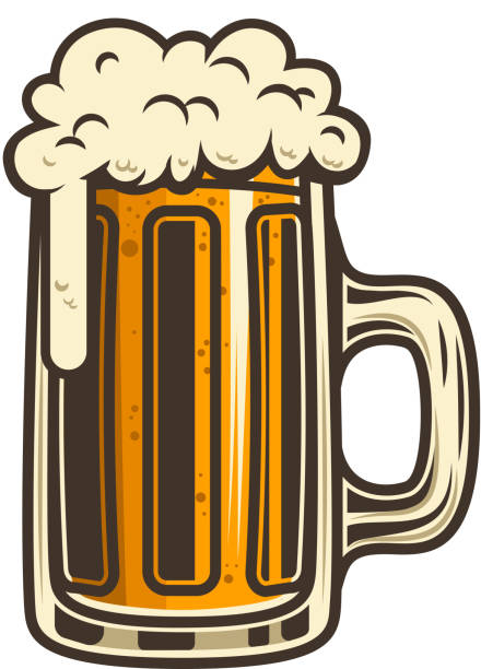 Beer mug illustration. Design element for label, emblem, sign. Beer mug illustration. Design element for label, emblem, sign. Vector image beer glass stock illustrations