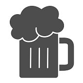 Beer mug solid icon. Glass of beer with foam vector illustration isolated on white. Alcohol drink glyph style design, designed for web and app. Eps 10