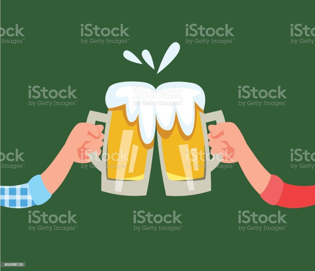 Beer mug with alcohol drink vector art illustration