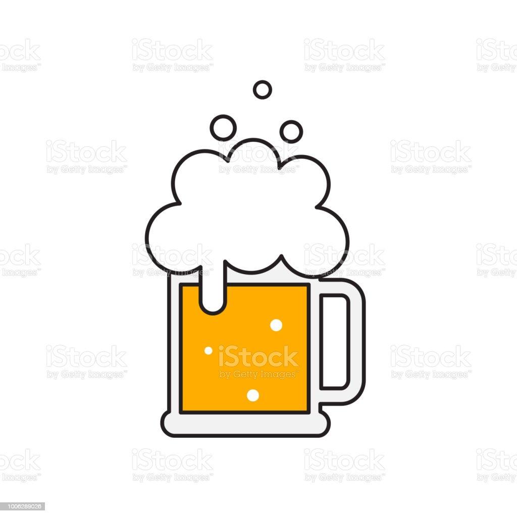 Beer mug with foam. vector art illustration