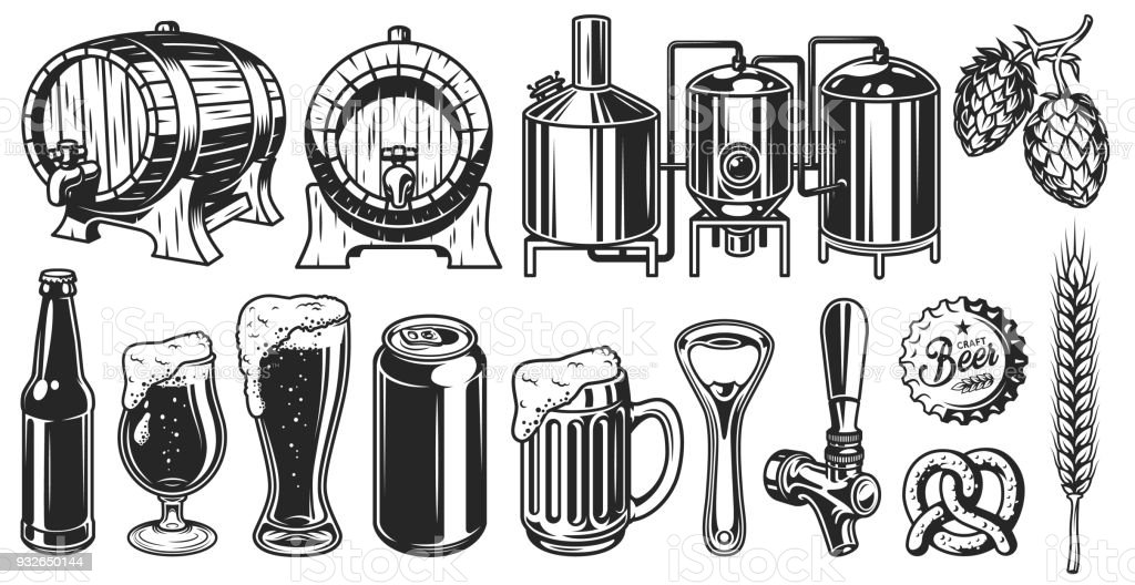 Beer object set vector art illustration