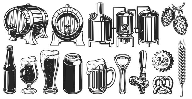 Beer object set Beer object set in vintage style. Detailed vector illustration beer stock illustrations