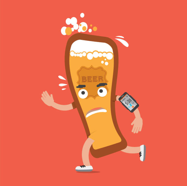 beer on the run with smartphone health concept cartoon character vector illustration - food delivery stock illustrations