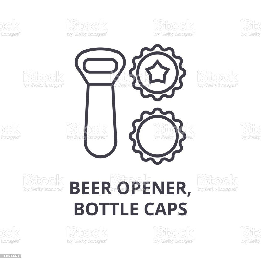 beer opener, bottle caps line icon, outline sign, linear symbol, vector, flat illustration vector art illustration