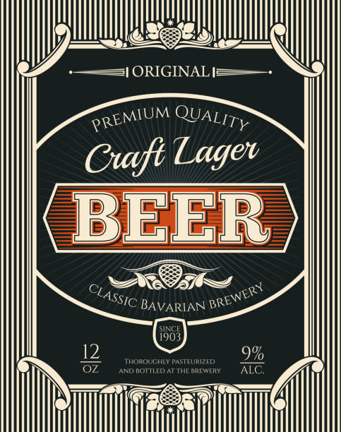 Beer or craft lager label of brewery alcohol drink Beer alcohol drink bottle label of bavarian brewery craft lager. Beer, lager or ale retro banner with frame border of vintage scroll and hop branch for bar, pub or brewery emblem design uk border stock illustrations