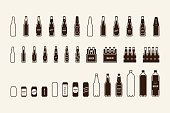Beer package icon set: bottle can box. Vector