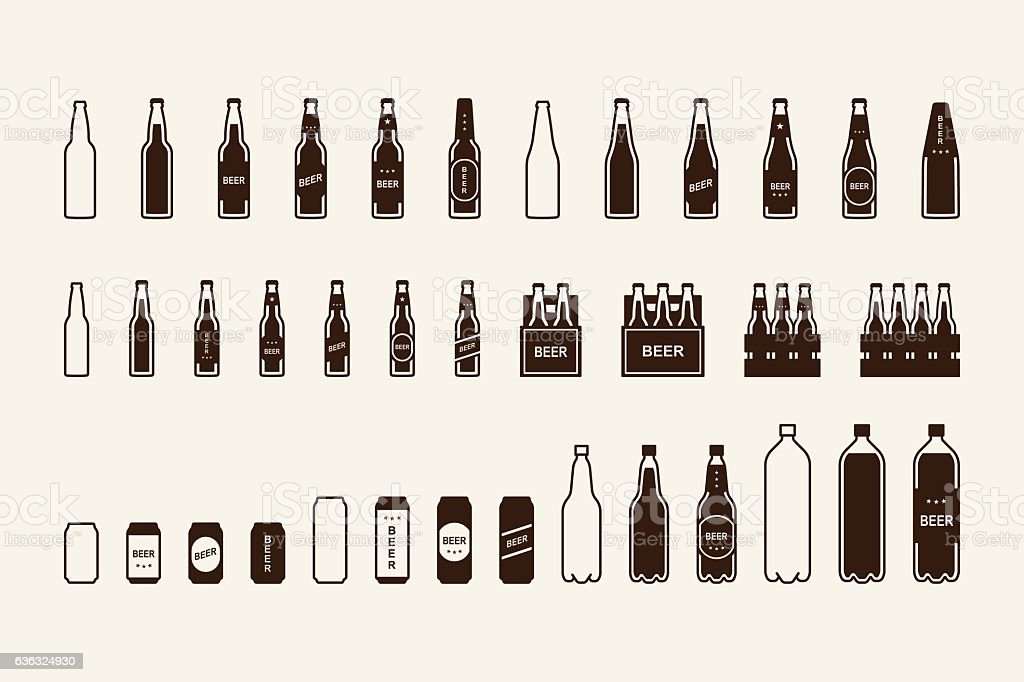 Beer package icon set: bottle, can, box vector art illustration