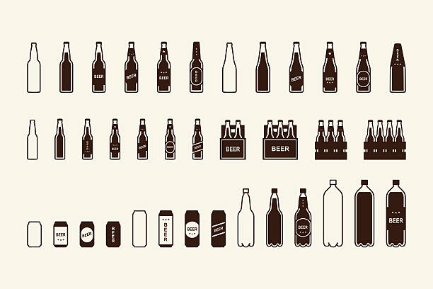 stockillustraties, clipart, cartoons en iconen met beer package icon set: bottle, can, box - bierfles