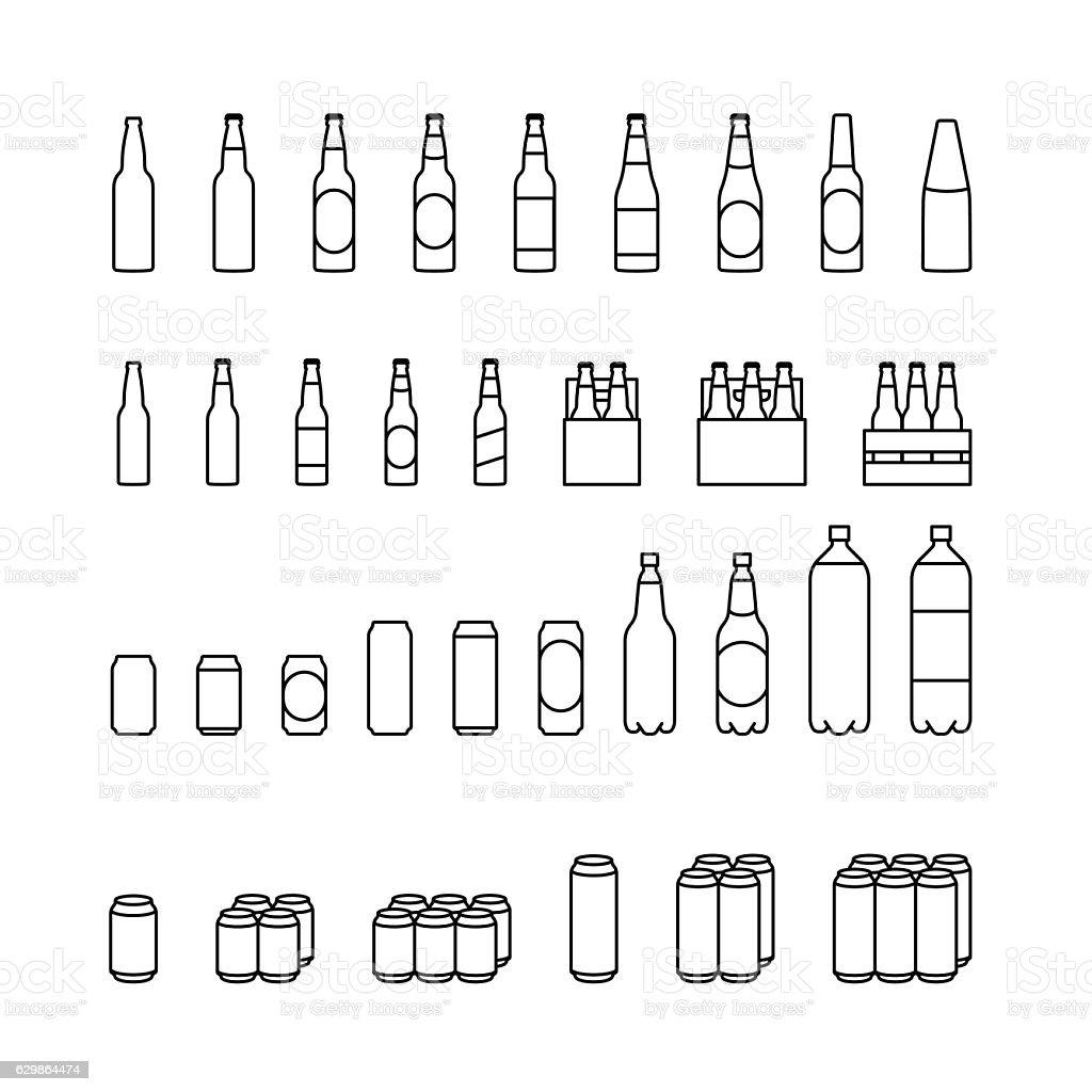 Beer package icon setvectorkunst illustratie