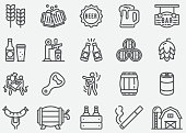 Beer Party Line Icons