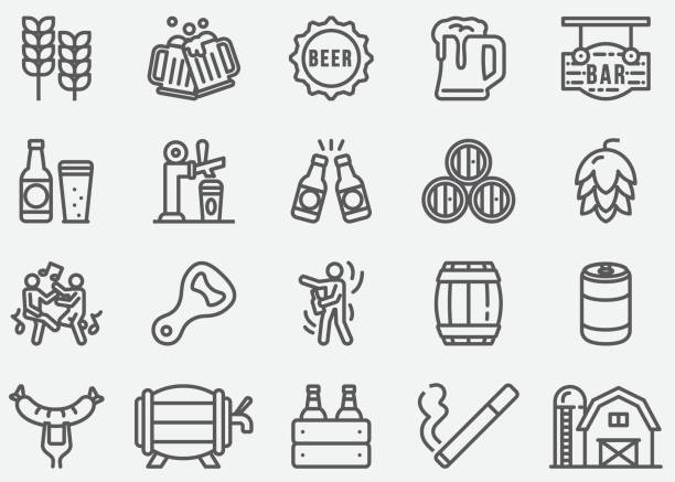Beer Party Line Icons Beer Party Line Icons beer stock illustrations