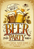 Beer party poster concept, copy space for text