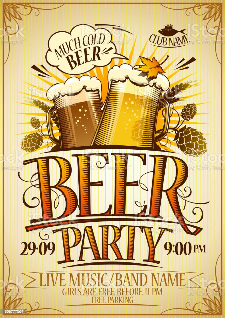 Beer party poster concept vector art illustration