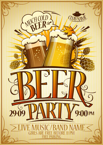 beer party poster concept - alcohol drink borders stock illustrations