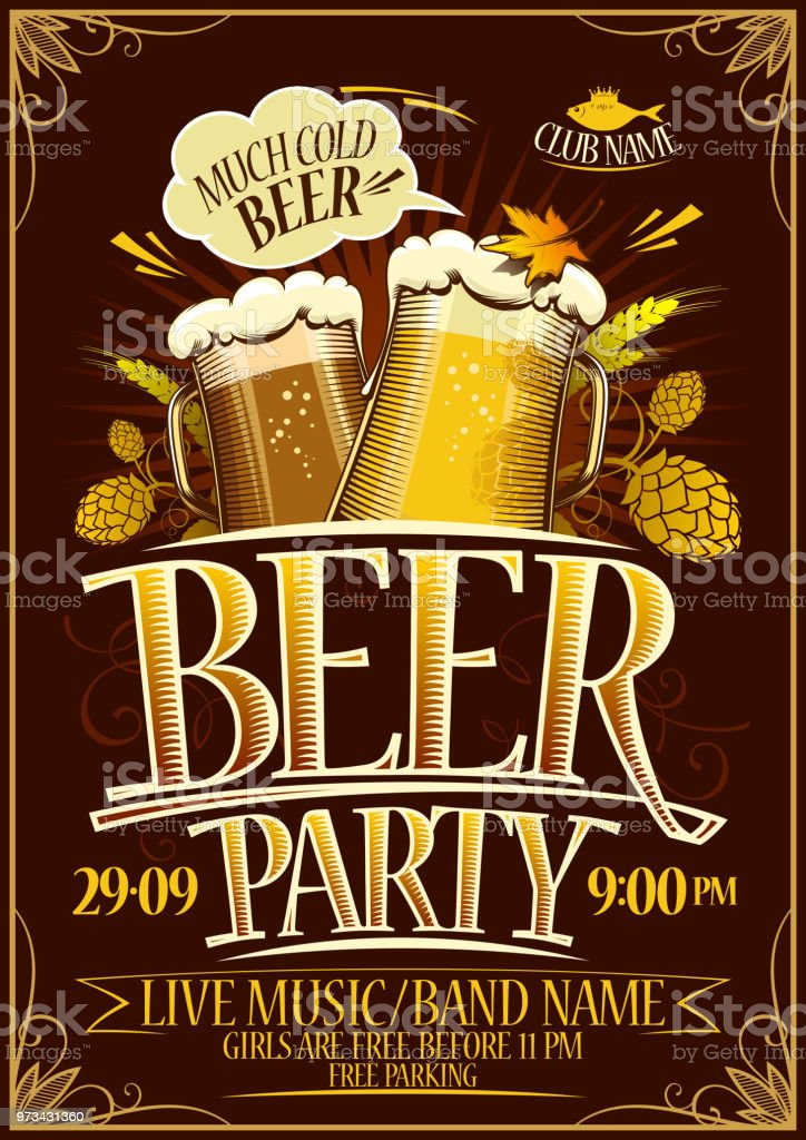 Beer party poster vector art illustration