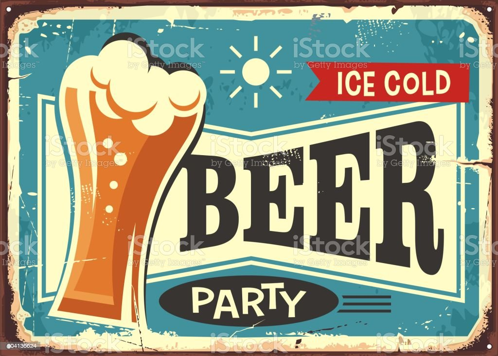 Beer party retro pub sign vector art illustration