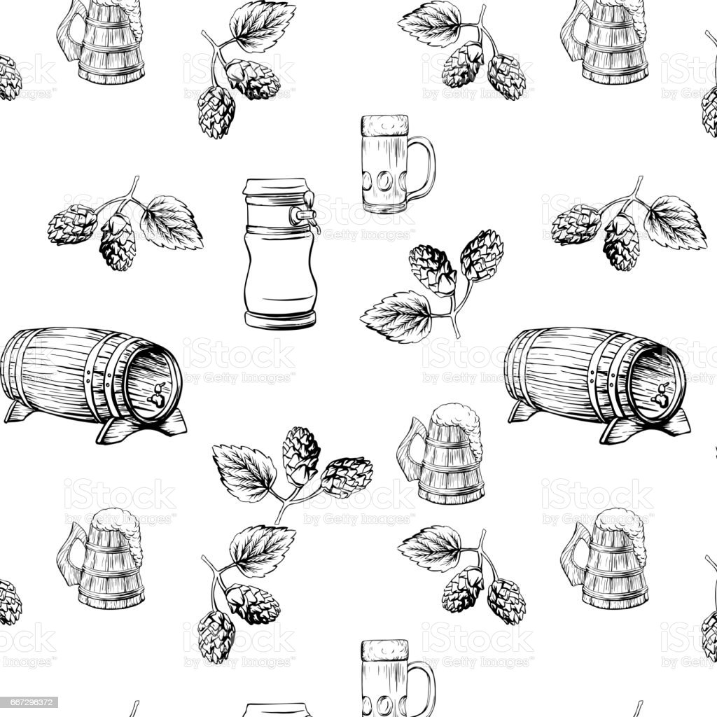Beer Pattern Vector Illustration Template For Menu Stock Vector Art