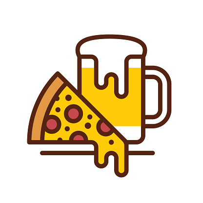 Beer & Pizza line icon