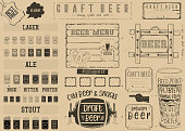 Beer Drawn Menu Design. Craft Beer Placemat for Restaurant, Bar, Pub and Cafe. Place for Text Menu. Vintage Craft Paper Design.  Beer Infographic. Vector Illustration.