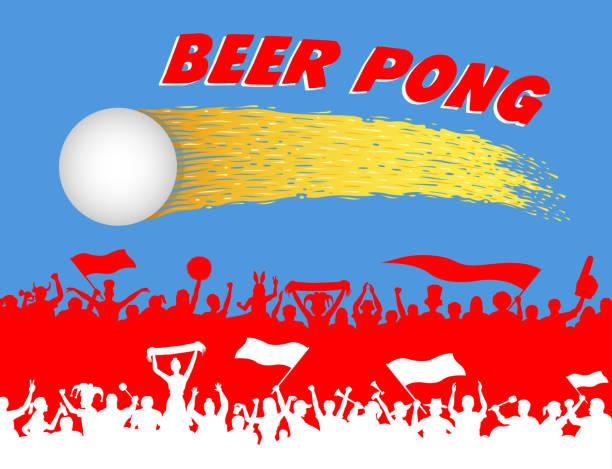 illustrazioni stock, clip art, cartoni animati e icone di tendenza di beer pong ball and supporters silhouettes - beirut