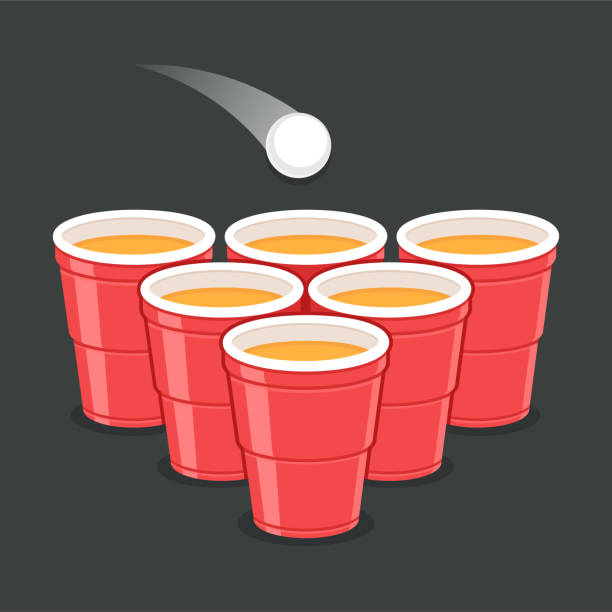 stockillustraties, clipart, cartoons en iconen met bier pong bekers - beirut