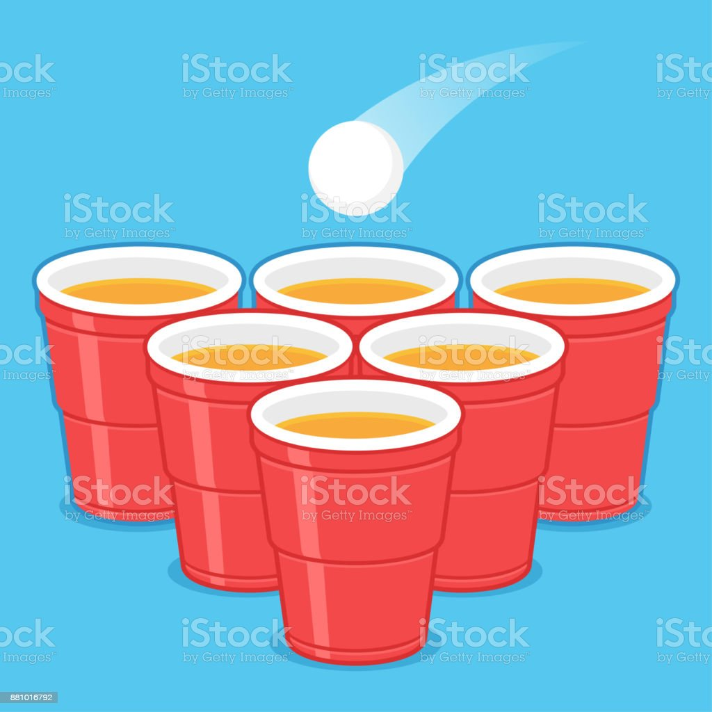 Beer Pong cups vector art illustration