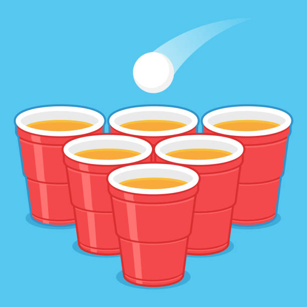 stockillustraties, clipart, cartoons en iconen met beer pong cups - beirut