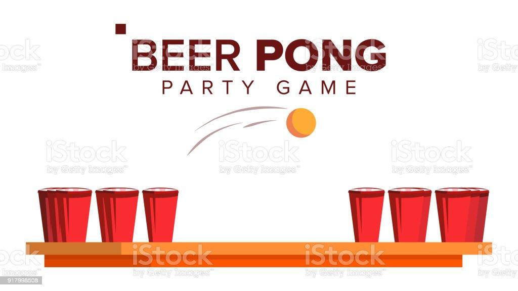 bier pong spiel vector alkohol party spiel rote becher und. Black Bedroom Furniture Sets. Home Design Ideas