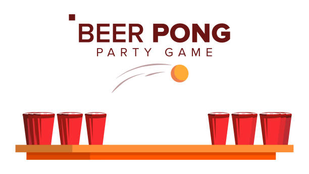 stockillustraties, clipart, cartoons en iconen met bier pong spel vector. alcohol party spel. rode bekers en ping pong bal. geïsoleerde vlakke afbeelding - beirut