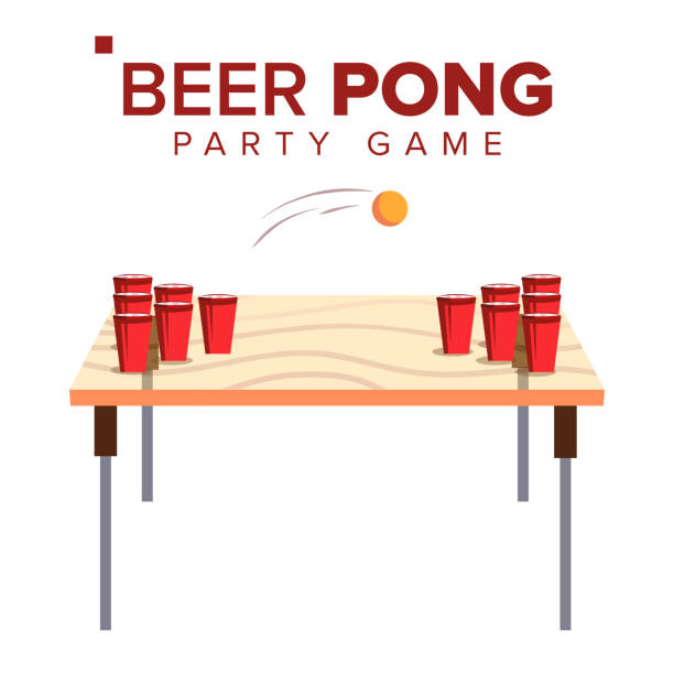 stockillustraties, clipart, cartoons en iconen met bier pong spel vector. alcohol party spel. rode bekers op tafel en bal. geïsoleerde vlakke afbeelding - beirut