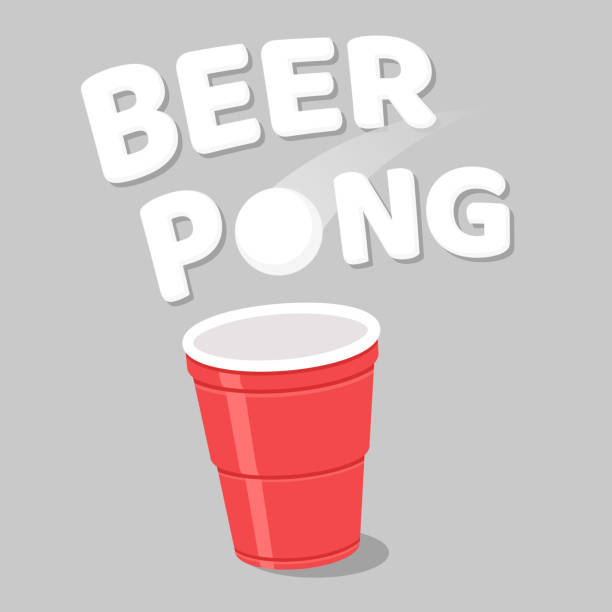 beer pong illustration. - bachelor party stock illustrations, clip art, cartoons, & icons