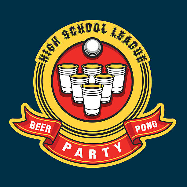 stockillustraties, clipart, cartoons en iconen met beer pong party logo - beirut