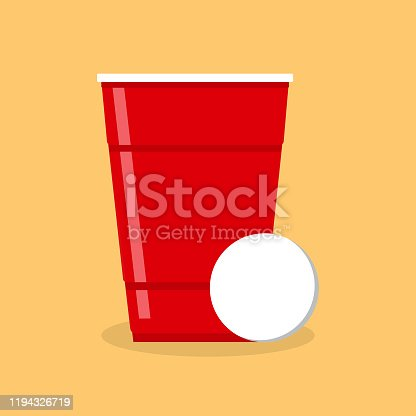 Beer Pong poster or banner with red plastic cup and ball. Traditional drinking game vector illustration.