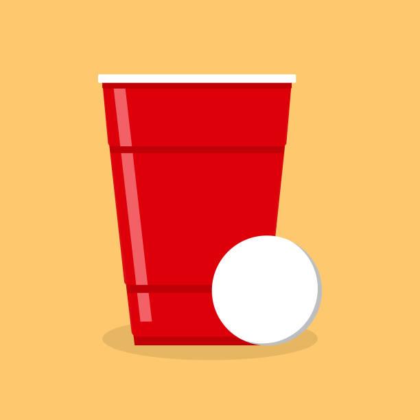 啤酒乒乓球海報或橫幅與紅色塑膠杯和球。傳統的飲酒遊戲向量插圖。 - 杯 幅插畫檔、美工圖案、卡通及圖標