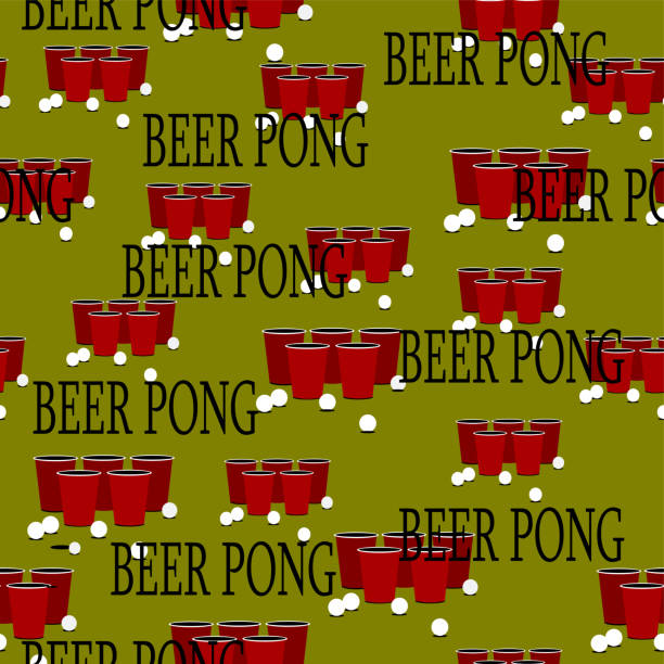 stockillustraties, clipart, cartoons en iconen met bier pong naadloze patroon - beirut
