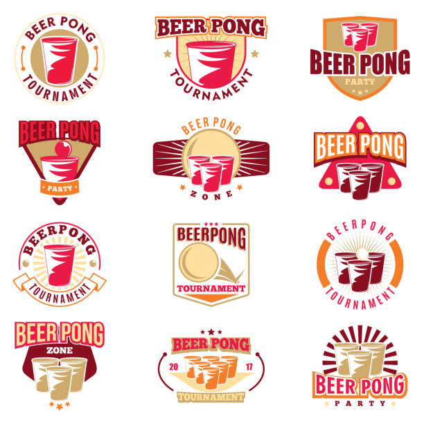 stockillustraties, clipart, cartoons en iconen met bier pong toernooi 12 gekleurde badges set. retro collectie van gekleurde bier pong elementen en iconen. vector illustratie. - beirut