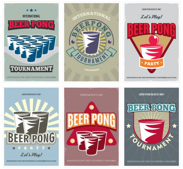 stockillustraties, clipart, cartoons en iconen met 4. bier pong toernooi posters set. retro collectie van gekleurde bier pong elementen en iconen. vector illustratie. - beirut