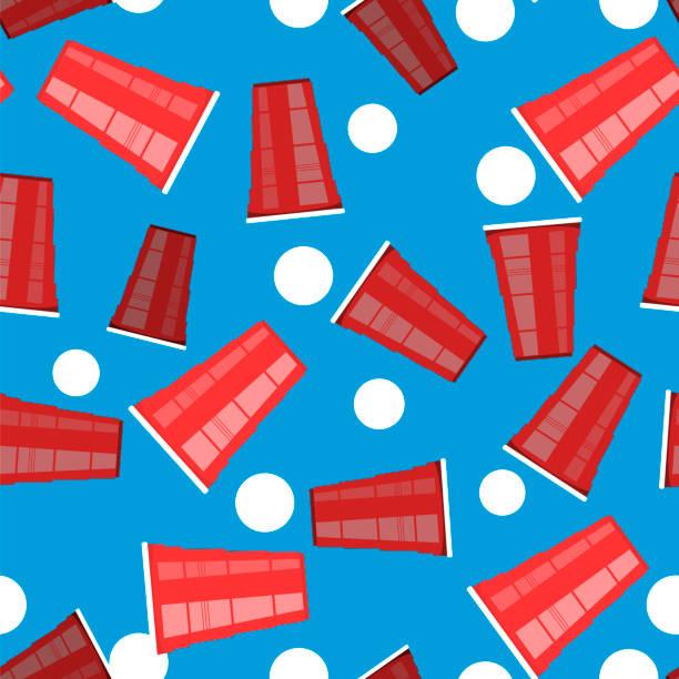 illustrazioni stock, clip art, cartoni animati e icone di tendenza di beer pong tournament. red plastic cup and white tennis ball on blue background. fun game for party. - beirut