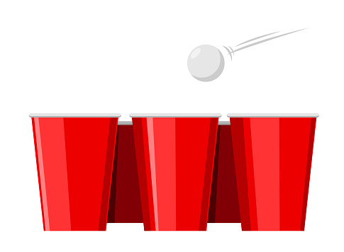 beer pong with red cup. Isolated Vector Illustration